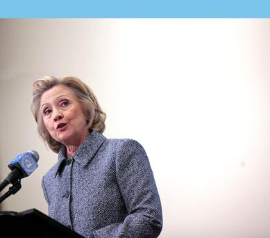 Former United States Secretary of State Hillary Clinton speaks to the media after keynoting a Women's Empowerment Event at the United Nations on March 10, 2015