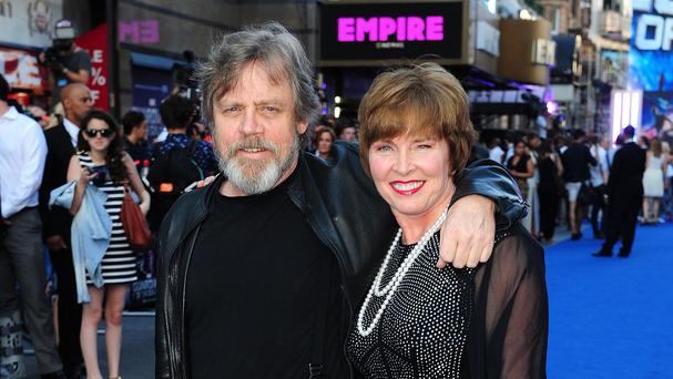 Mark Hamill pictured in London with his wife Marilou York