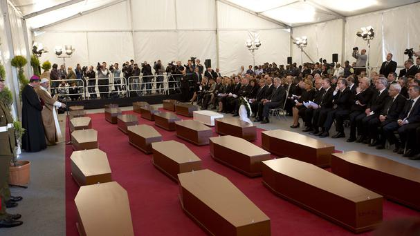 A funeral service for 24 migrants drowned while trying to reach the Southern coasts of Italy took place, in Msida, in the outskirts of Valletta, Malta (AP)