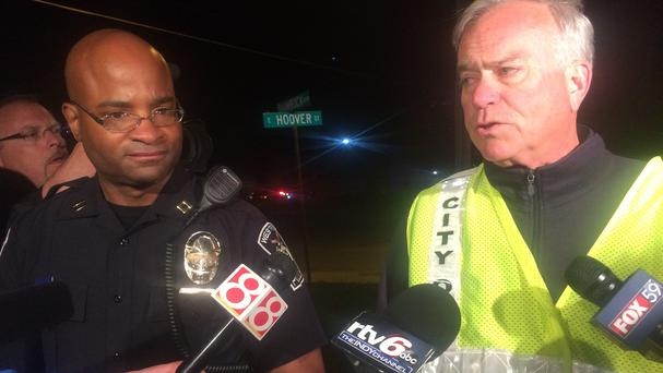 Captain Charles Hollowell, left, of Westfield Police Department, said the students were hurt after the stage gave way at Westfield High School. (AP)
