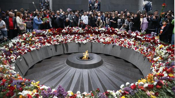 A memorial to Armenians killed by the Ottoman Turks in Yerevan, Armenia. (AP)