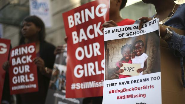 Protesters outside Nigeria House in London demonstrating for the girls abducted by Boko Haram