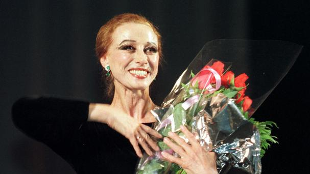Maya Plisetskaya, pictured in 1998 after a ballet performance in the Zhovtnevy Palace in Kiev (AP)