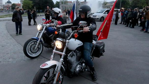 Members of the Russian motorcycle club Night Wolves in Vienna (AP)