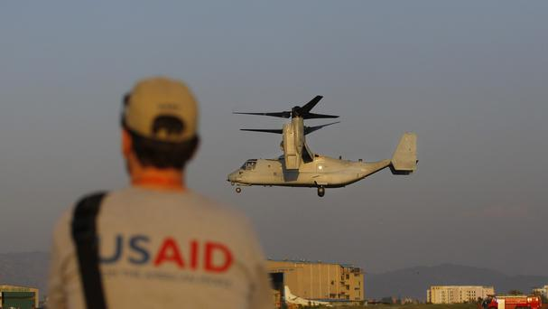 A US Air Force Bell Boeing V-22 Osprey aircraft arrives at Tribhuvan International airport in Kathmandu (AP)