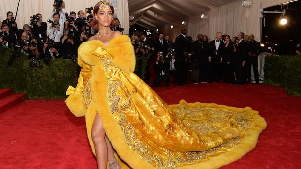 Rihanna arrives at The Metropolitan Museum of Art's Costume Institute benefit gala (Invision/AP)