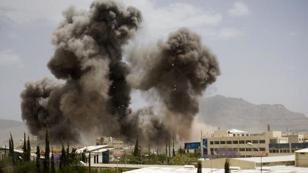 A Saudi-led air strike in Yemen. (AP)