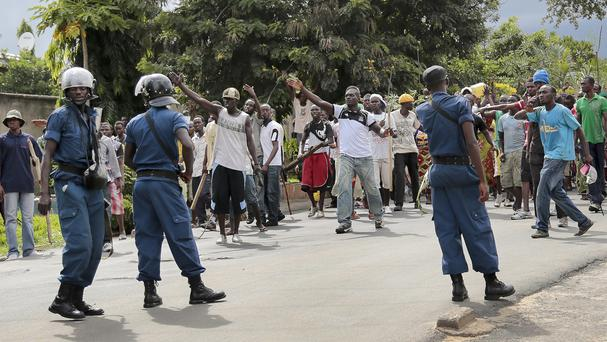 Demonstrators confront police in the Ngagara district of Bujumbura, Burundi. (AP)
