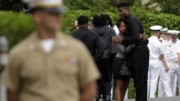 Mourners at the funeral service for US Naval Academy midshipman Justin Zemser in Hewlett, New York. (AP)