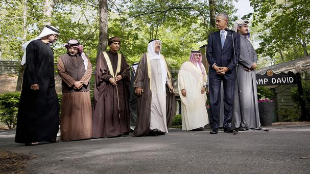 President Barack Obama at Camp David with Gulf nation leaders (AP)