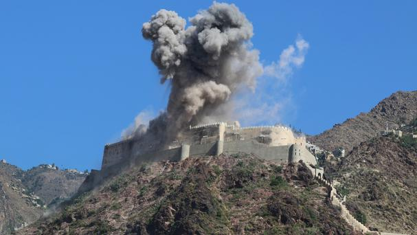 Smoke rises from an ancient fortress following a Saudi-led airstrike earlier this month (AP)