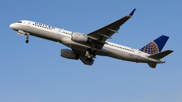 The United Airlines plane was en route from Rome to Chicago yesterday.