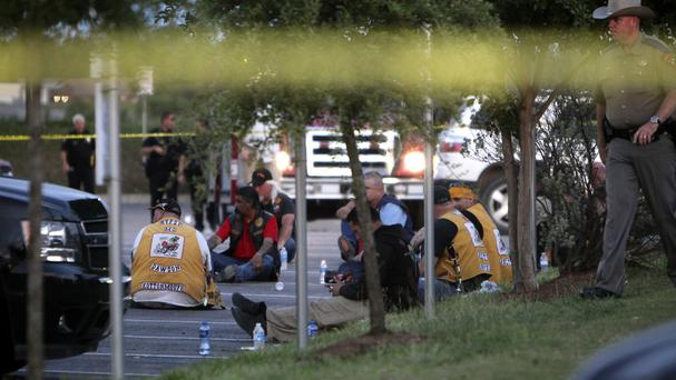Members of various motorcycle clubs outside the Twin Peaks restaurant in Waco, Texas (AP)