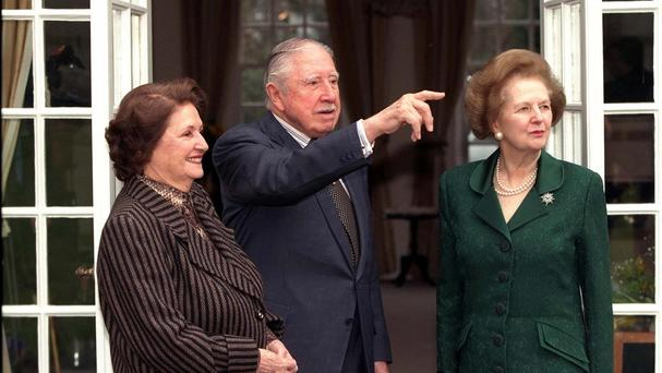 General Pinochet and his wife with Lady Thatcher while he was under house arrest in the UK