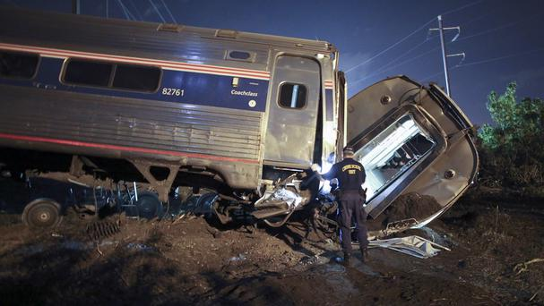 The scene of the deadly Amtrak train crash in Philadelphia (AP)