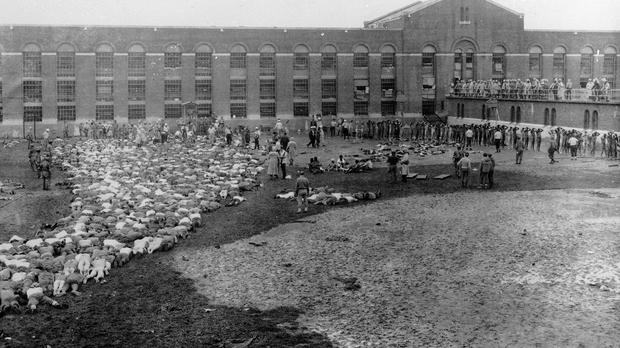 Attica State Prison inmates lie on the ground or walk with their hands above their heads as authorities retake control (New York State Special Commission on Attica/ AP)