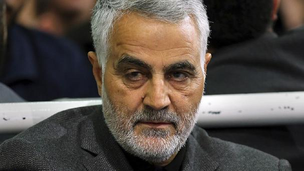 Commander of Iran's Quds Force, Qassem Soleimani, sits in a religious ceremony at a mosque in the residence of Supreme Leader Ayatollah Ali Khamenei in Tehran (Office of the Iranian Supreme Leader via AP)