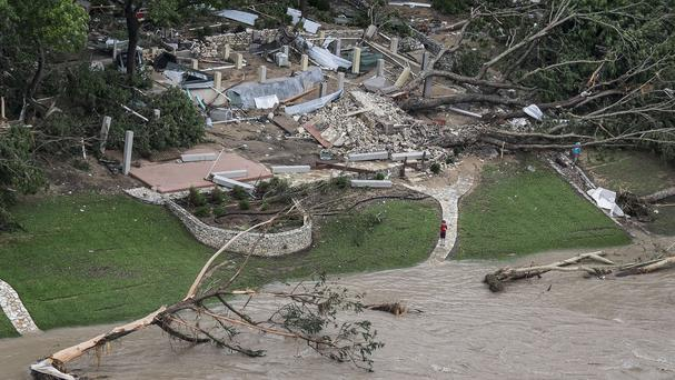 A home on the Blanco River was taken off its foundation after heavy overnight rain in Texas (Rodolfo Gonzalez/Austin American-Statesman/AP)