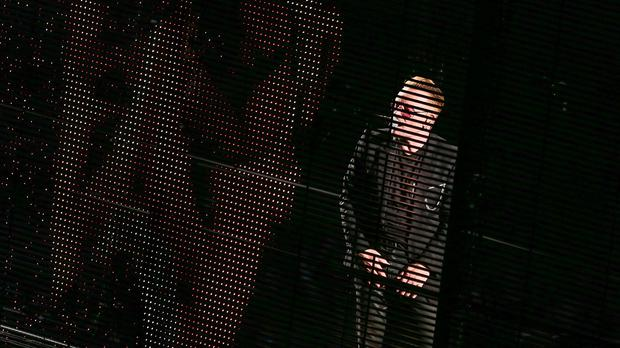 Bono of U2 performs at the Innocence & Experience tour at The Forum in Inglewood, California (Photo by Rich Fury/Invision/AP)