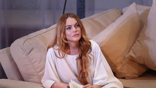 Lindsay Lohan in the play Speed The Plow in London (Photo by Joel Ryan/Invision/AP, File)