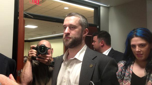 Dustin Diamond leaves court after his conviction (AP)
