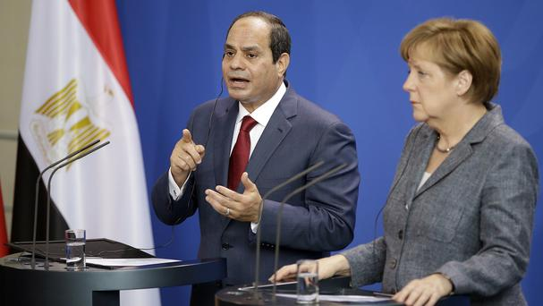 German Chancellor Angela Merkel and the President of Egypt Abdel Fattah el-Sissi address the media in Berlin. (AP)