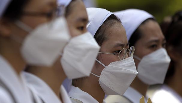 South Korean nuns wearing masks as a precaution against Mers. (AP)