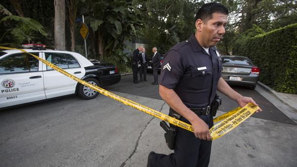 Police seal off Andrew Getty's home in the Hollywood Hills after his body was discovered (AP)