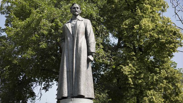 A statue of Felix Dzerzhinsky, the founder of the Soviet secret police, stands in the Museon Park in Moscow (AP)