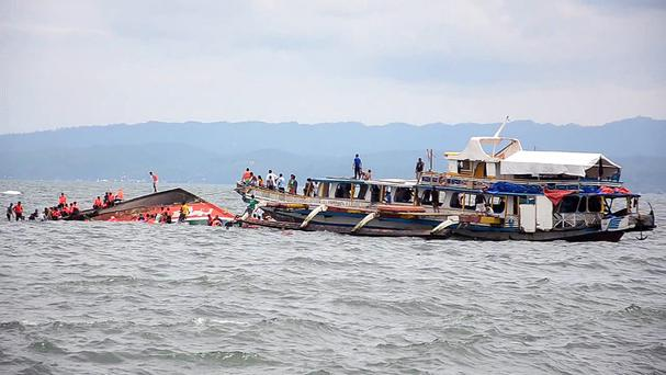 The MB Kim Nirvana capsized in choppy waters off Ornoc. (AP)