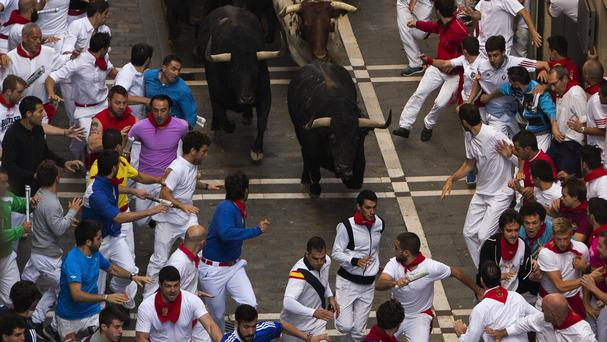 The running of the bulls at the San Fermin festival in Pamplona, Spain (AP)