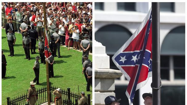 The Confederate battle flag is raised in front of the South Carolina Statehouse in Columbia on July 1, left, and the same flag is taken down on July 10, right. (AP)