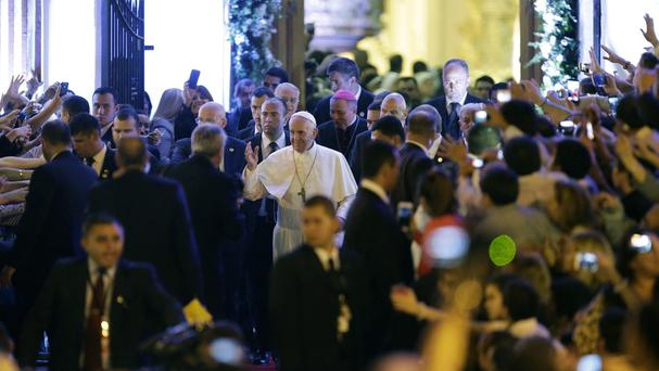 Pope Francis leaves the Metropolitan Cathedral after evening prayers in Asuncion, Paraguay (AP)