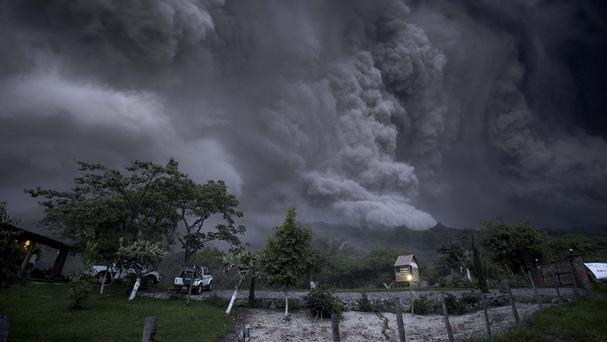 Clouds of ash fill the sky after an eruption by the Colima volcano, known as the Volcano of Fire, near the town of Comala, Mexico (AP)