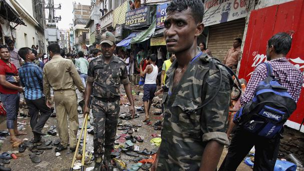 The aftermath of the stampede at the annual Rath Yatra procession. (AP)