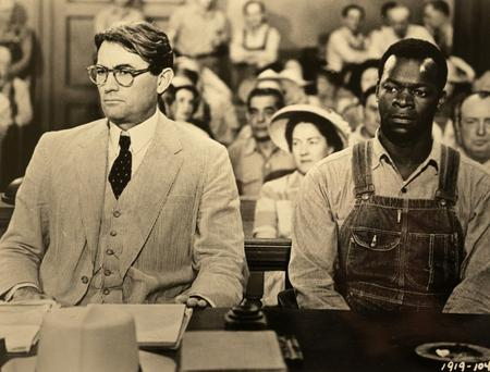 Gregory Peck as Atticus Finch and Brock Peters as Tom Robinson in a scene from the 1962 film of Harper Lee's novel 'To Kill a Mockingbird'.