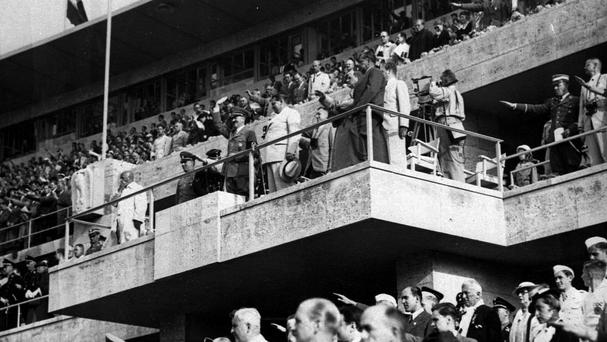 Adolf Hitler and Hermann Goering pictured in August 1936 watching events on the field at the Olympics in Berlin (AP)