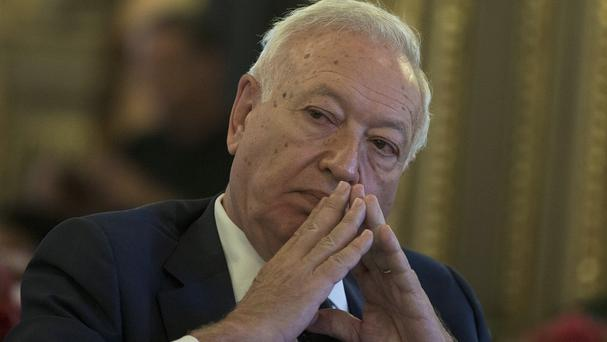 Spain's foreign minister Jose Manuel Garcia-Margallo pauses after speaking about three missing Spanish journalists in Syria (AP)