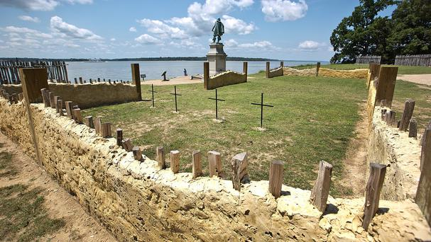 Crosses mark the site of where the remains of four of the earliest leaders of the English colony that would become America were buried for more than 400 years near the altar of America's first Protestant church in Jamestown, Virginia (The Daily Press/AP)
