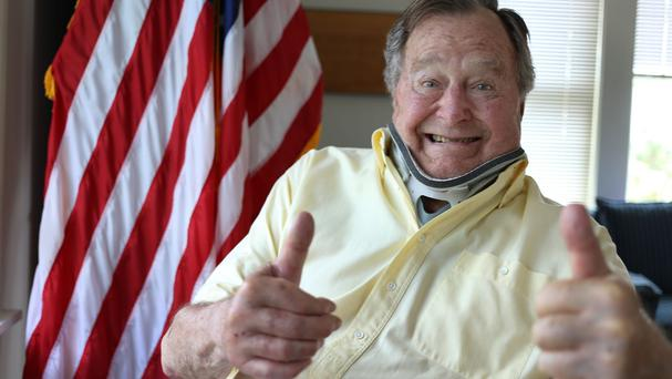 Injured former president George HW Bush tweeted this thumbs-up photo (Office of George HW Bush/AP)