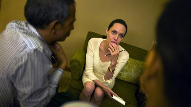 Angelina Jolie listens to Rohingya community representatives describe the difficult conditions of life in Rakhine State, Burma (Maddox Jolie-Pitt Foundation/PA)