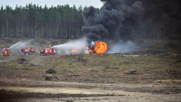 A Russian military helicopter after it crashed during a display (Anton Nasonov, RZN.info/Photo via AP)