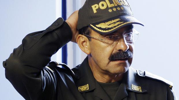 Colombia's police chief General Rodolfo Palomino at a press conference in Bogota after 16 police officers died when the Black Hawk helicopter they were travelling in crashed while taking part in a manhunt for the nation's most-wanted drug trafficker (AP)