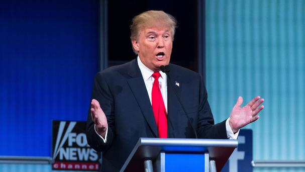 Donald Trump taking part in the first Republican presidential TV debate (AP)