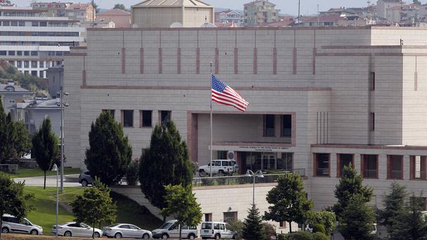 Two gunmen opened fire at the US consulate building in Istanbul (AP)