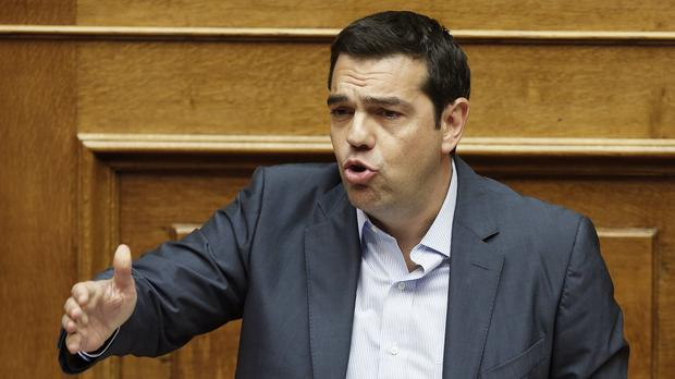 Greek prime minister Alexis Tsipras addresses a parliamentary session in Athens. (AP)