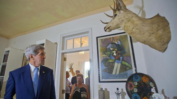 John Kerry tours Finca Vigia (Lookout Farm), the former home of the late US writer Ernest Hemingway, now a museum, in Havana (AP)
