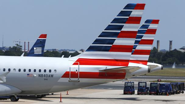 American Airlines planes wait on the tarmac at Washington's Reagan National Airport after technical issues at an air traffic centre in Virginia caused delays (AP)
