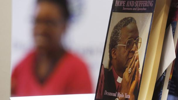 Mpho Tutu, the daughter of retired South African archbishop Desmond Tutu, speaks to the media in Cape Town (AP)