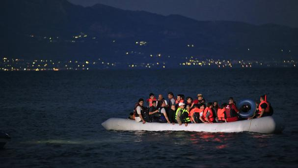 Migrants in a boat off the coast of Bodrum, Turkey. (AP)